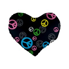 Peace & Love Pattern Standard 16  Premium Flano Heart Shape Cushions by BangZart