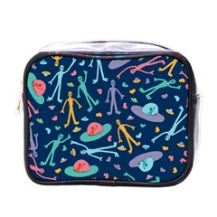 Alien Pattern Blue Mini Toiletries Bags by BangZart