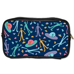 Alien Pattern Blue Toiletries Bags 2 Side by BangZart