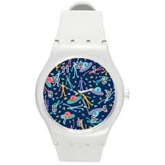 Alien Pattern Blue Round Plastic Sport Watch (m) by BangZart