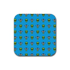 Alien Pattern Rubber Square Coaster (4 Pack)