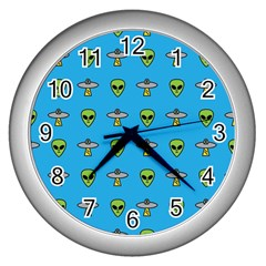 Alien Pattern Wall Clocks (silver)  by BangZart