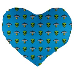 Alien Pattern Large 19  Premium Flano Heart Shape Cushions by BangZart