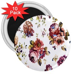 Texture Pattern Fabric Design 3  Magnets (10 Pack)