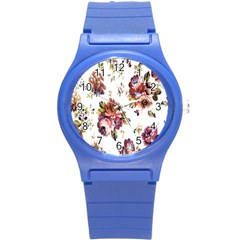 Texture Pattern Fabric Design Round Plastic Sport Watch (s) by BangZart