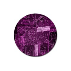 Purple Background Patchwork Flowers Magnet 3  (round) by BangZart