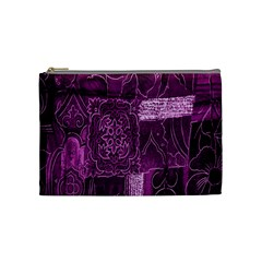 Purple Background Patchwork Flowers Cosmetic Bag (medium)  by BangZart