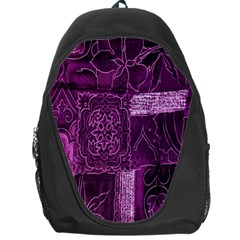 Purple Background Patchwork Flowers Backpack Bag by BangZart