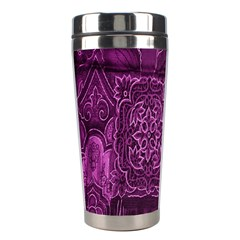 Purple Background Patchwork Flowers Stainless Steel Travel Tumblers