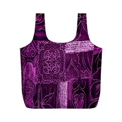 Purple Background Patchwork Flowers Full Print Recycle Bags (m)  by BangZart