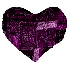 Purple Background Patchwork Flowers Large 19  Premium Flano Heart Shape Cushions by BangZart