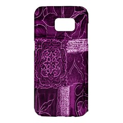 Purple Background Patchwork Flowers Samsung Galaxy S7 Edge Hardshell Case