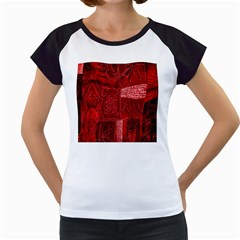 Red Background Patchwork Flowers Women s Cap Sleeve T by BangZart