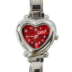 Red Background Patchwork Flowers Heart Italian Charm Watch by BangZart