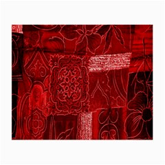 Red Background Patchwork Flowers Small Glasses Cloth