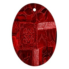 Red Background Patchwork Flowers Oval Ornament (two Sides) by BangZart