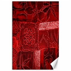 Red Background Patchwork Flowers Canvas 12  X 18