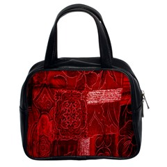 Red Background Patchwork Flowers Classic Handbags (2 Sides) by BangZart