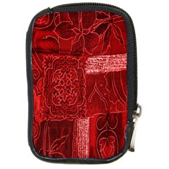 Red Background Patchwork Flowers Compact Camera Cases by BangZart
