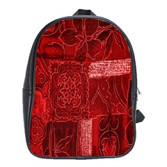 Red Background Patchwork Flowers School Bags(large)  by BangZart