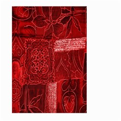 Red Background Patchwork Flowers Large Garden Flag (two Sides) by BangZart