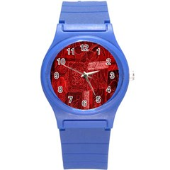 Red Background Patchwork Flowers Round Plastic Sport Watch (s) by BangZart
