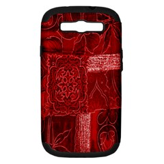 Red Background Patchwork Flowers Samsung Galaxy S Iii Hardshell Case (pc+silicone) by BangZart