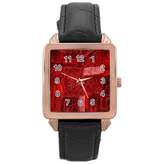 Red Background Patchwork Flowers Rose Gold Leather Watch  by BangZart