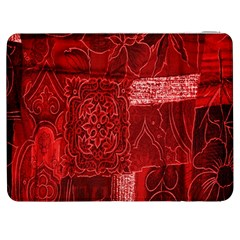 Red Background Patchwork Flowers Samsung Galaxy Tab 7  P1000 Flip Case