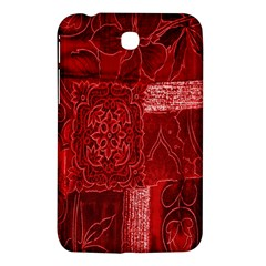 Red Background Patchwork Flowers Samsung Galaxy Tab 3 (7 ) P3200 Hardshell Case  by BangZart