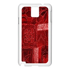Red Background Patchwork Flowers Samsung Galaxy Note 3 N9005 Case (white) by BangZart