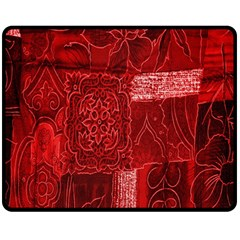 Red Background Patchwork Flowers Double Sided Fleece Blanket (medium)  by BangZart