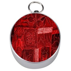 Red Background Patchwork Flowers Silver Compasses by BangZart