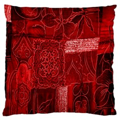 Red Background Patchwork Flowers Large Flano Cushion Case (two Sides) by BangZart