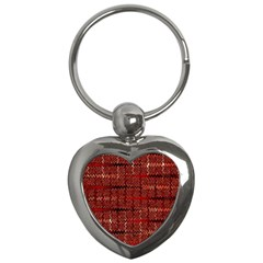 Rust Red Zig Zag Pattern Key Chains (heart)  by BangZart