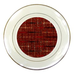 Rust Red Zig Zag Pattern Porcelain Plates by BangZart