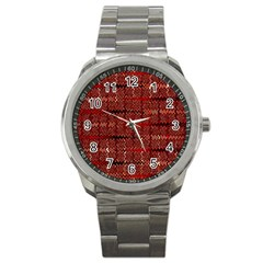 Rust Red Zig Zag Pattern Sport Metal Watch by BangZart