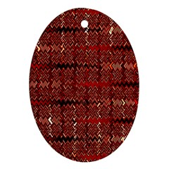 Rust Red Zig Zag Pattern Oval Ornament (two Sides) by BangZart