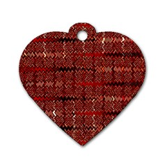 Rust Red Zig Zag Pattern Dog Tag Heart (two Sides) by BangZart