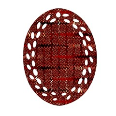 Rust Red Zig Zag Pattern Oval Filigree Ornament (two Sides) by BangZart