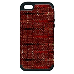 Rust Red Zig Zag Pattern Apple Iphone 5 Hardshell Case (pc+silicone) by BangZart