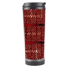 Rust Red Zig Zag Pattern Travel Tumbler by BangZart