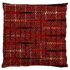 Rust Red Zig Zag Pattern Large Flano Cushion Case (two Sides) by BangZart