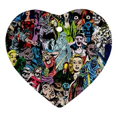 Vintage Horror Collage Pattern Ornament (heart) by BangZart