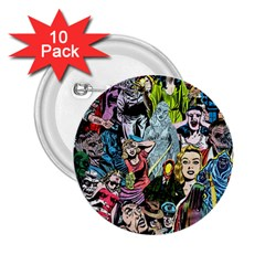 Vintage Horror Collage Pattern 2 25  Buttons (10 Pack)  by BangZart