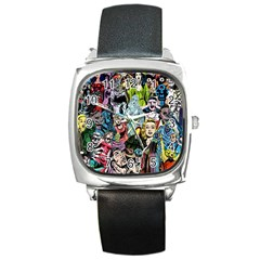 Vintage Horror Collage Pattern Square Metal Watch by BangZart