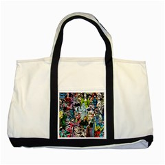 Vintage Horror Collage Pattern Two Tone Tote Bag by BangZart