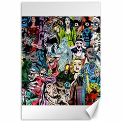 Vintage Horror Collage Pattern Canvas 24  X 36  by BangZart