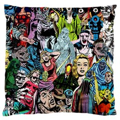 Vintage Horror Collage Pattern Large Cushion Case (one Side) by BangZart