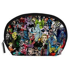 Vintage Horror Collage Pattern Accessory Pouches (large)  by BangZart